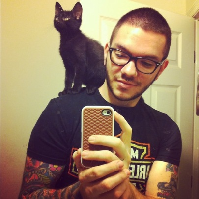 cats, black cats, guys with glasses, cute boys with cats, Tumblr